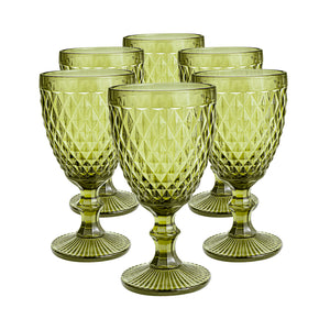 Set 6 Copas Vidrio Diamante VC Dining is Divine  Verde Oliva