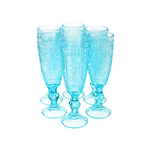 Set 6 Copas Champagne Flores Dining is Divine Transparente