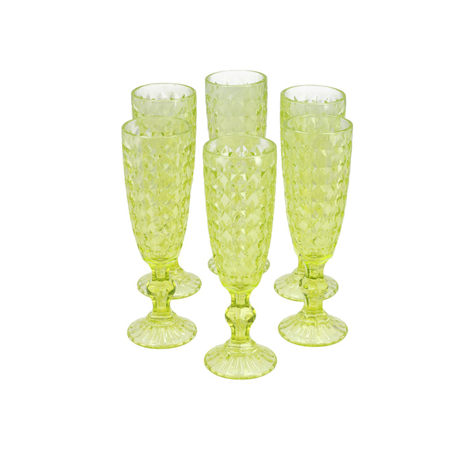 Set 6 Copas Champagne Rombos Dining is Divine Verde