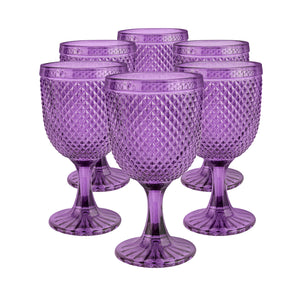 Set 6 Copas Vidrio Dining is Divine Panal  Morada