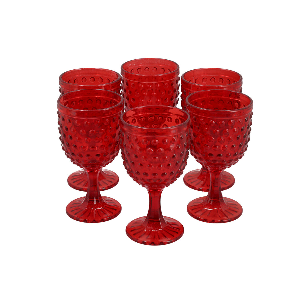 Set 6 Copas Vidrio Dining is Divine Puntos Rojo