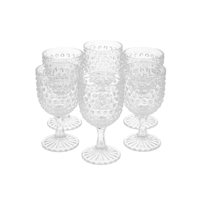 Set 6 Copas Vidrio Dining is Divine Puntos Transparente