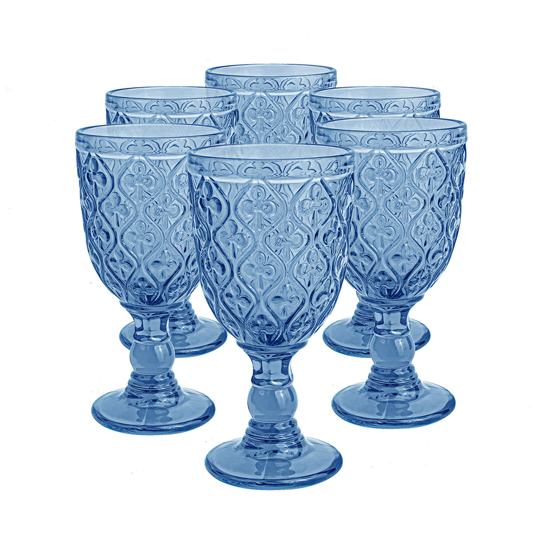 Set 6 Copas Vidrio Trébol Dining is Divine  Azul