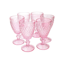 Set 6 Copas Vidrio Diamante Dining is Divine Rosada