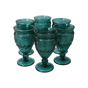Set 6 Copas Vidrio Flores Dining is Divine Azul