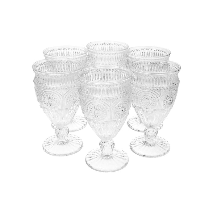Set 6 Copas Vidrio Flores Dining is Divine Transparente