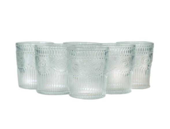 Set 6 Vasos Vidrio Bajo Flores Dining is Divine transparente