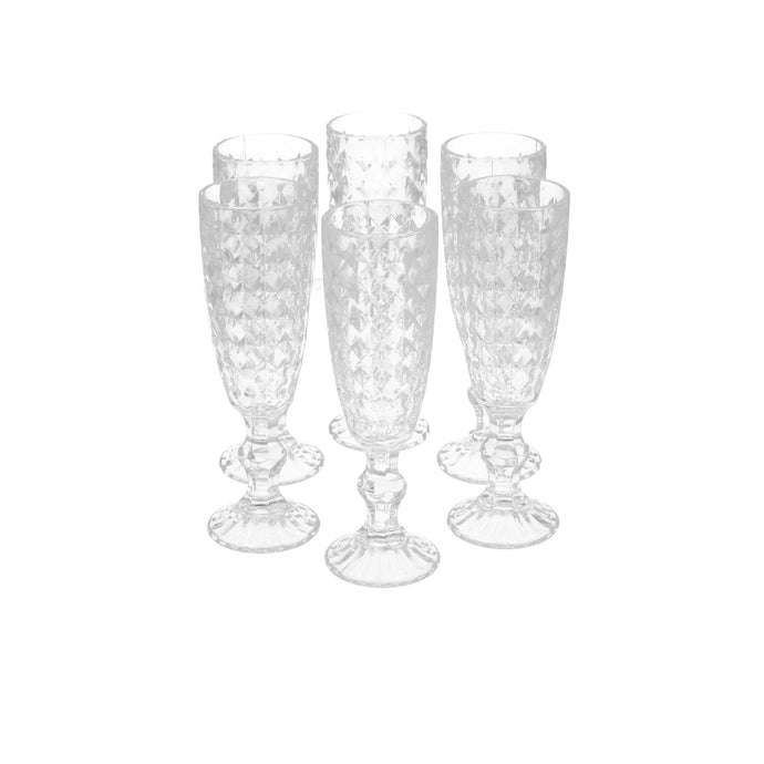Set 6 Copas Champagne Rombos Dining is Divine Transparente
