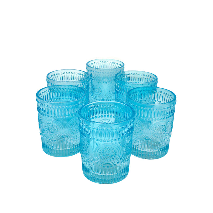Set 6 Vasos Vidrio Bajo Flores Dining is Divine Calipso