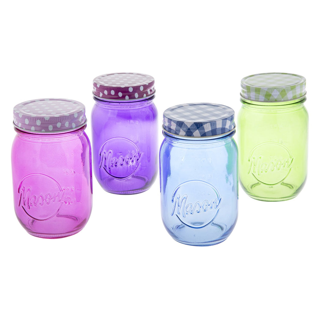 Set de 4 Mason Jar colores sin mango