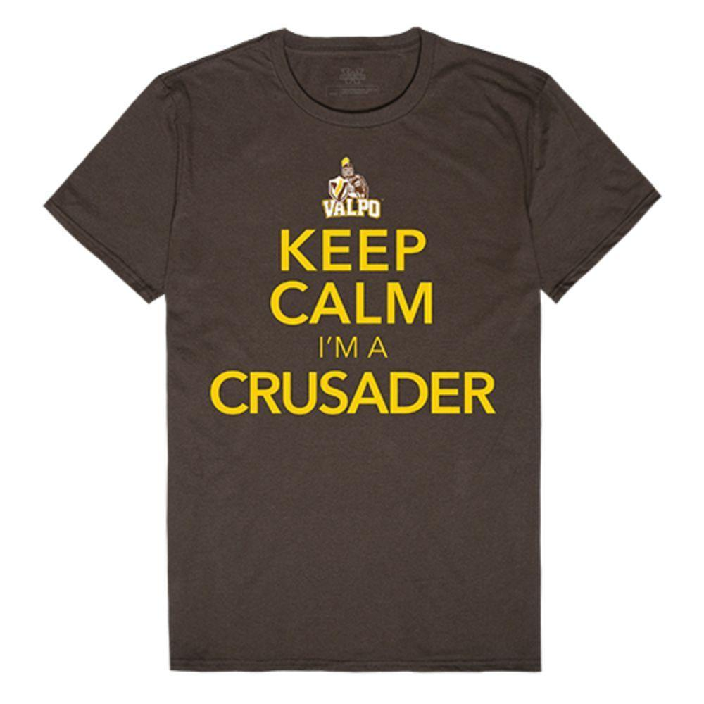 Valparaiso University Crusaders NCAA Keep Calm Tee T-Shirt Brown