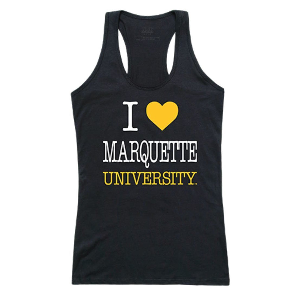 Marquette University Golden Eagles Womens Love Tank Top Tee T-Shirt Black