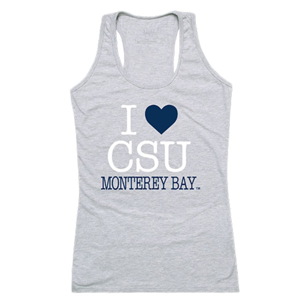 CSUMB Cal State University Monterey Bay Otters Womens Love Tank Top Tee T-Shirt Heather Grey