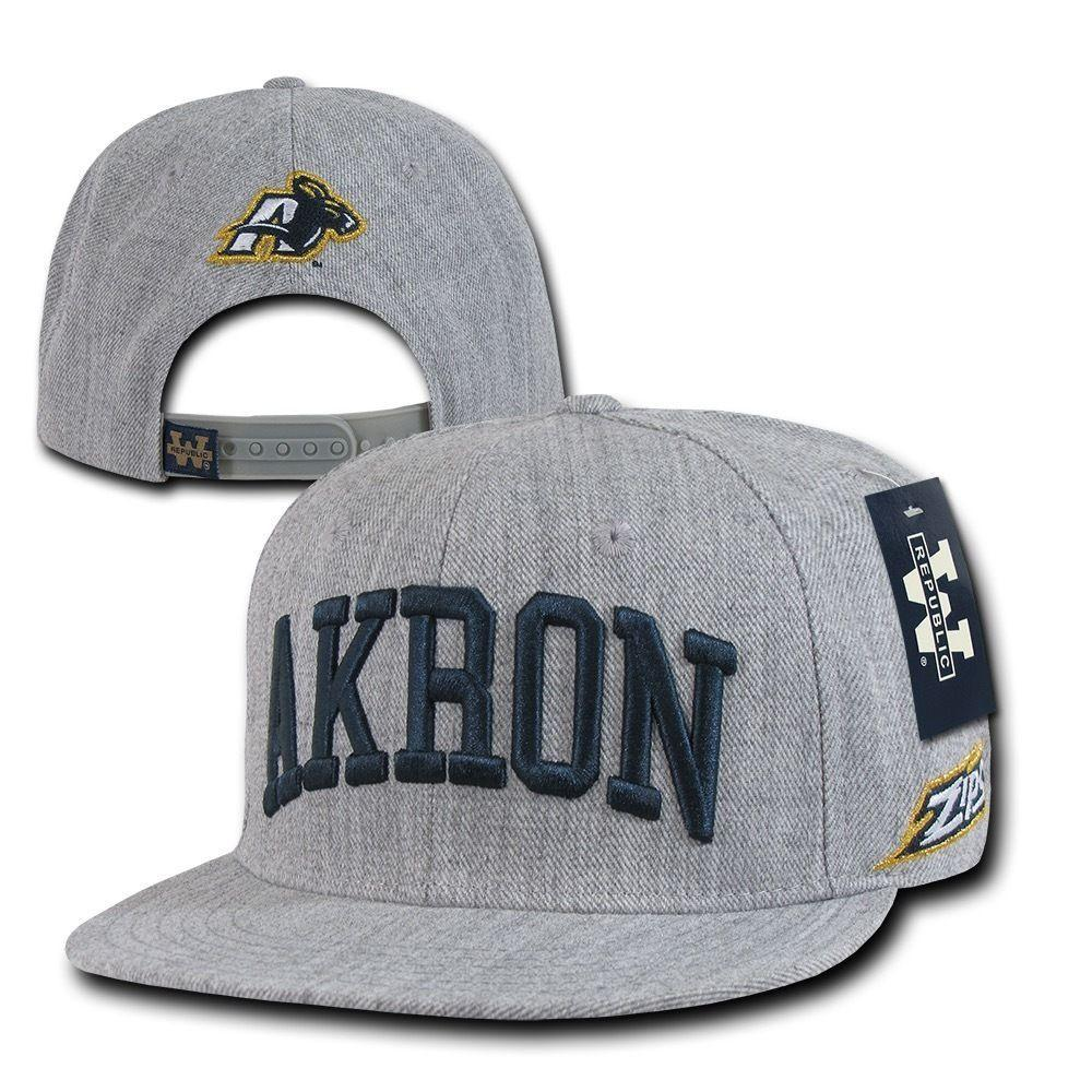 NCAA Akron University Zips 6 Panels Game Day Snapback Baseball Caps Hats Grey