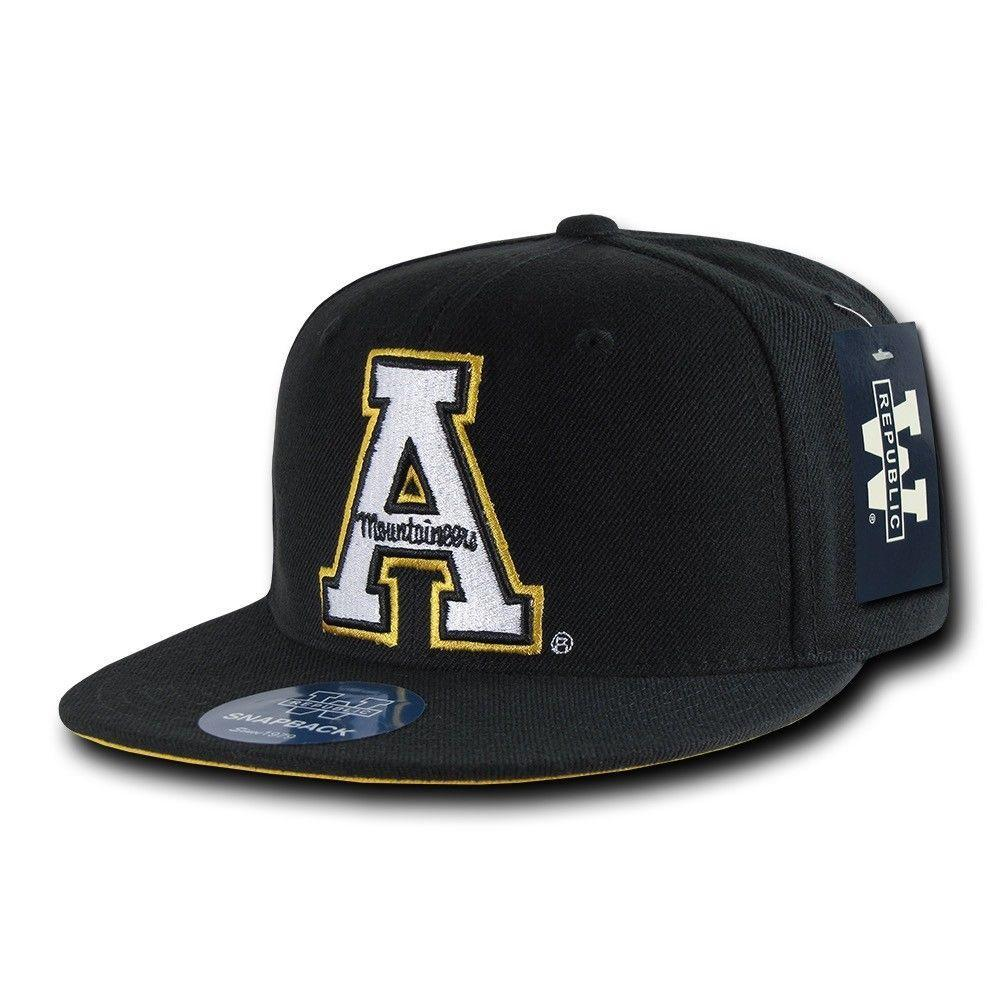 NCAA Appalachian State Mountaineers University College Fitted Caps Hats Black