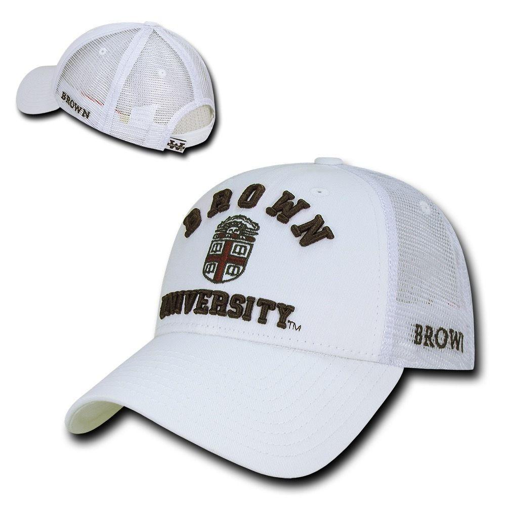 NCAA Brown Bears University Cotton Structured Trucker Baseball Caps Hats White