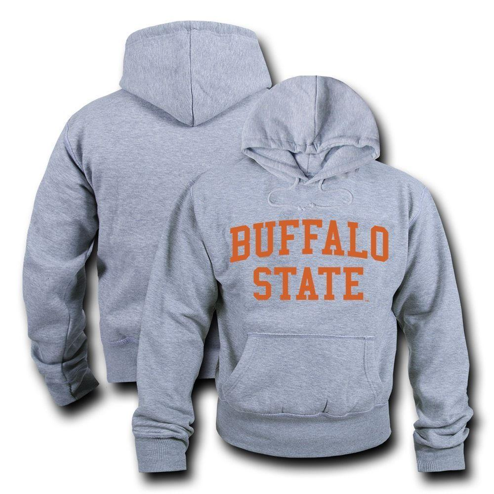 NCAA Buffalo State College Hoodie Sweatshirt Game Day Fleece Heather Grey