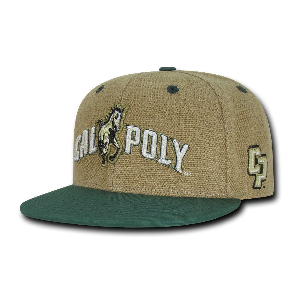 NCAA Cal Poly Mustangs University Constructed Heavy Jute Snapback Caps Hats