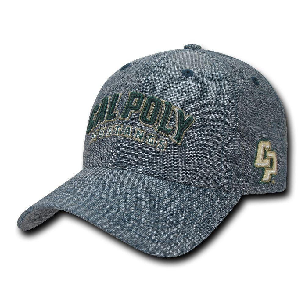 NCAA Cal Poly Mustangs University Structured Denim Baseball Caps Hats Blue