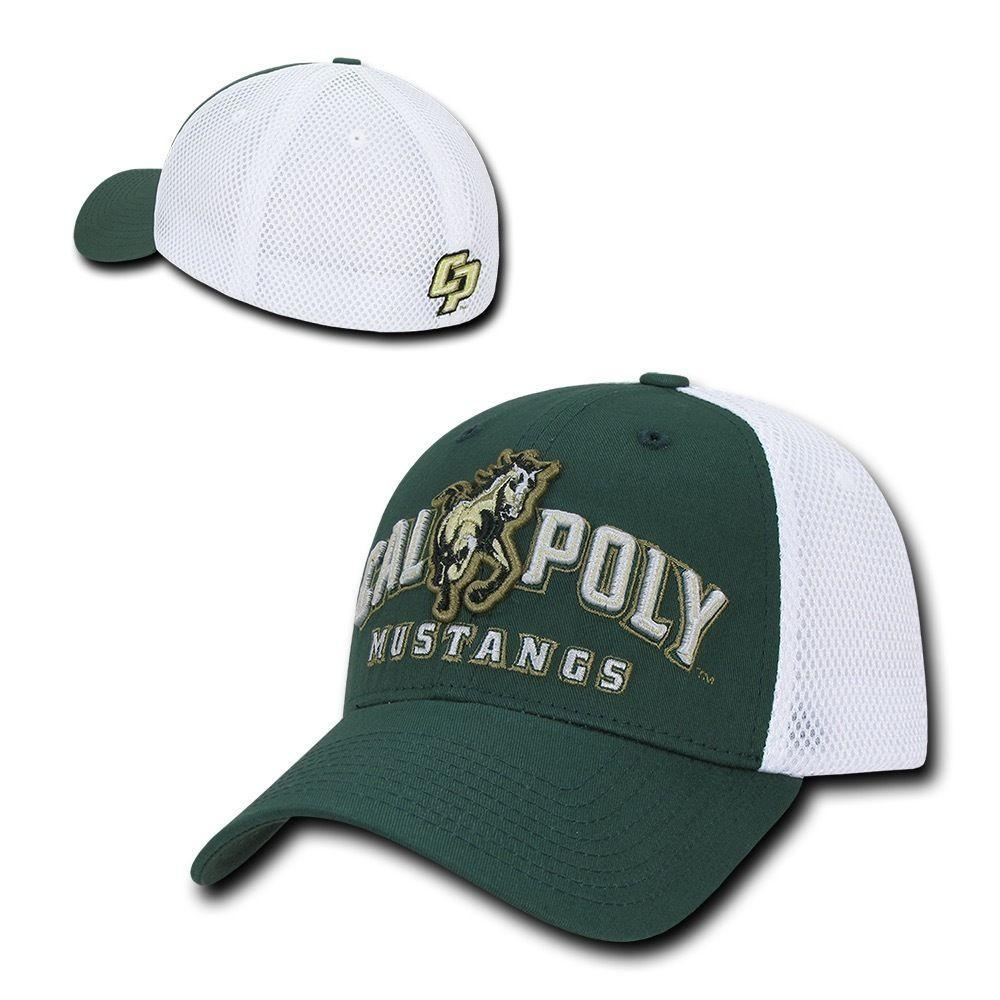 NCAA Cal Poly Mustangs University Structured Mesh Flex Baseball Caps Hats