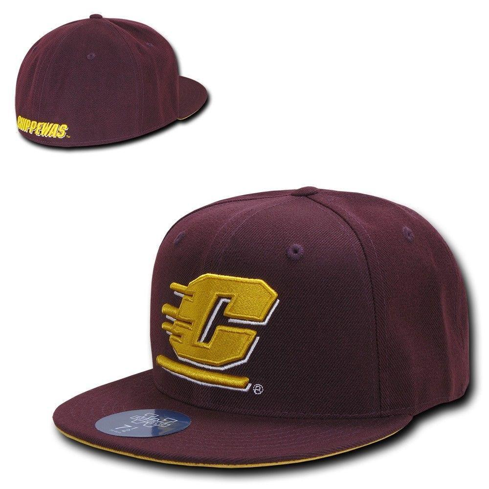 NCAA Cmu Central Michigan Chippewas University Fitted Caps Hats Maroon