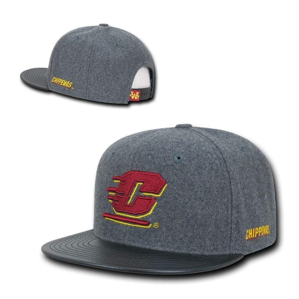 NCAA Cmu Central Michigan Chippewas University Melton Vinyl Snapback Caps Hats
