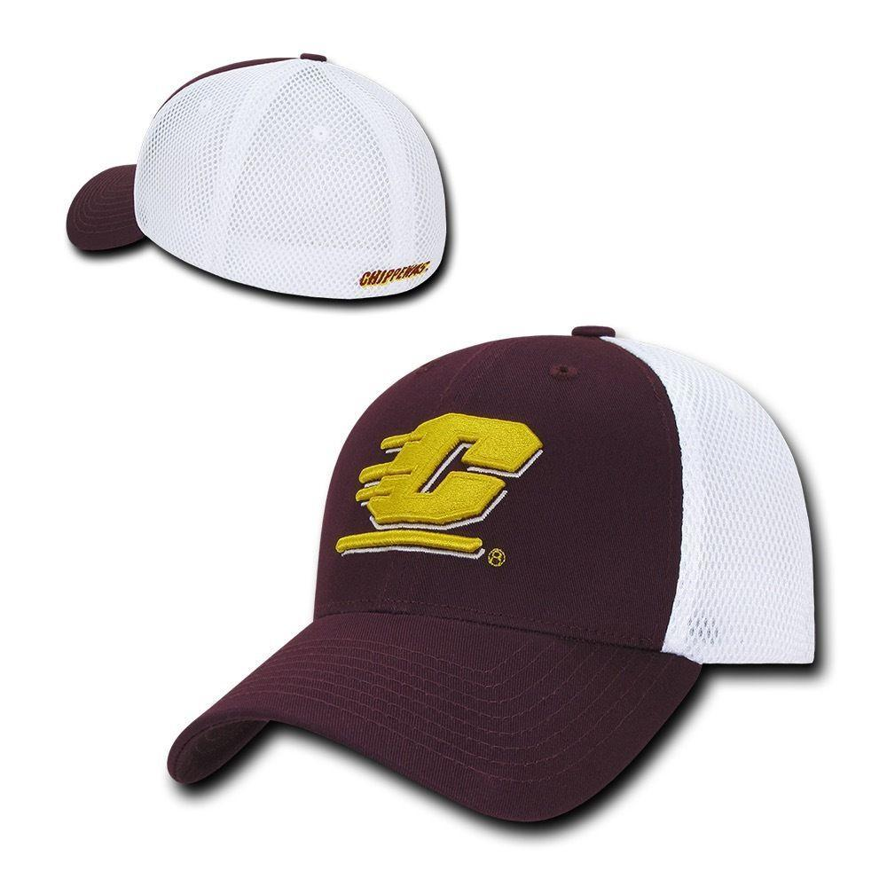 NCAA Cmu Central Michigan Chippewas University Structured Mesh Flex Caps Hats