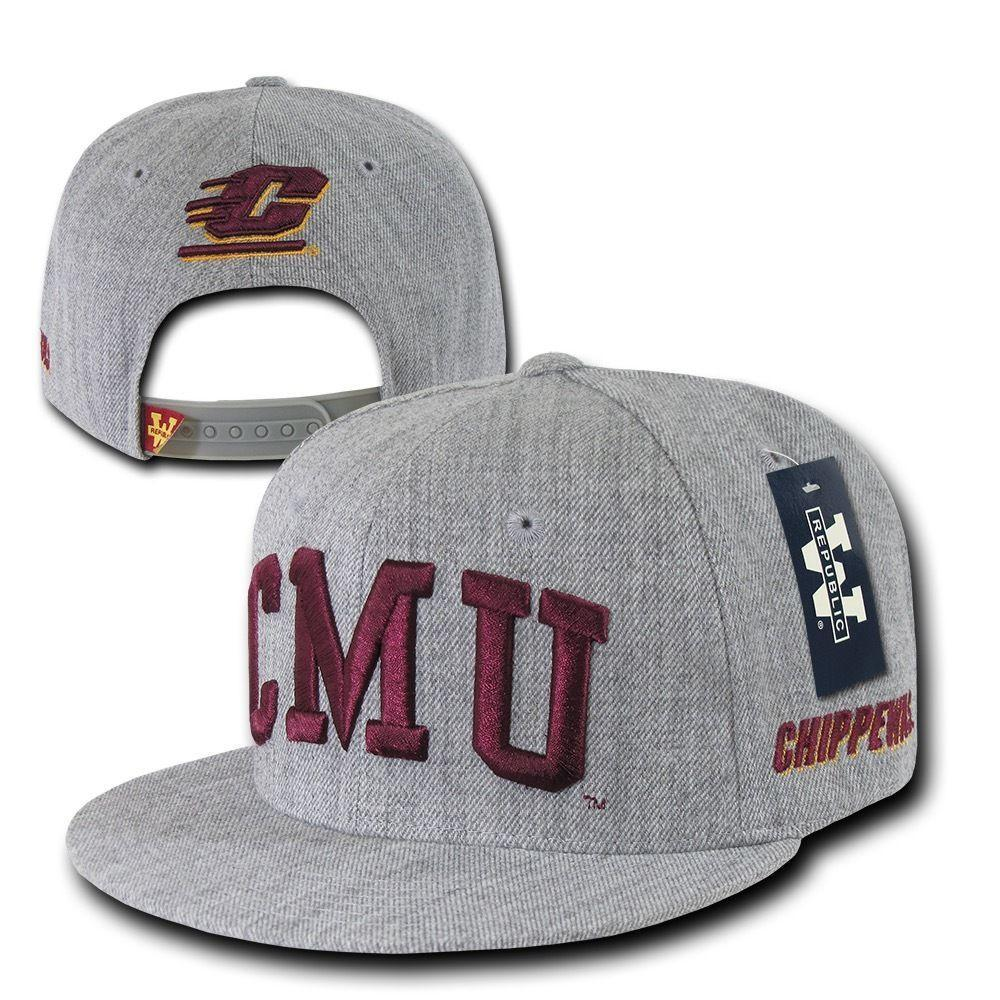 NCAA Cmu Central Michigan University Chippewe Game Day Snapback Cap Heather Grey