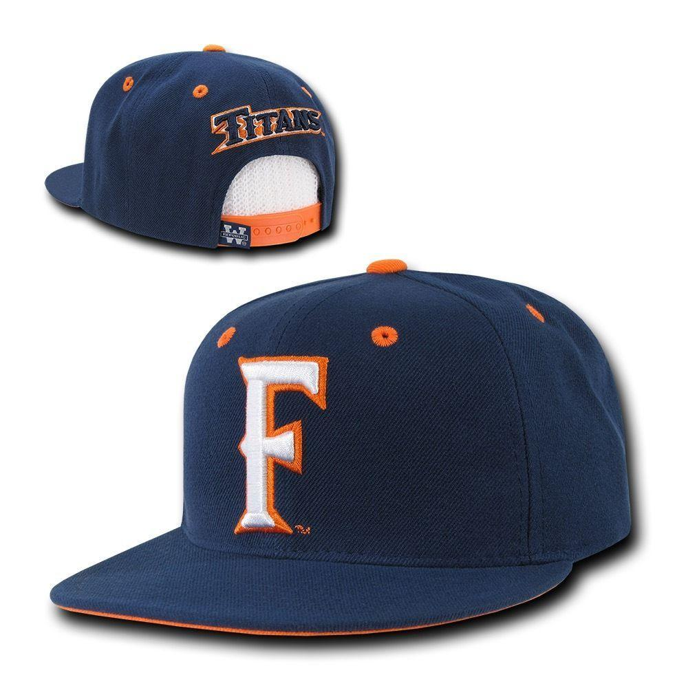 NCAA Csuf Cal State Fullerton Titans University Snapback Caps Hats Navy White
