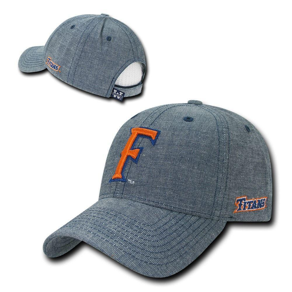 NCAA Csuf Cal State Fullerton Titans University Structured Denim Caps Hats Blue