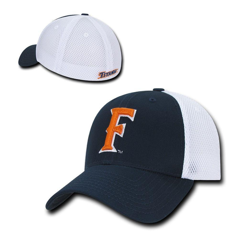 NCAA Csuf Cal State Fullerton Titans University Structured Mesh Flex Caps Hats