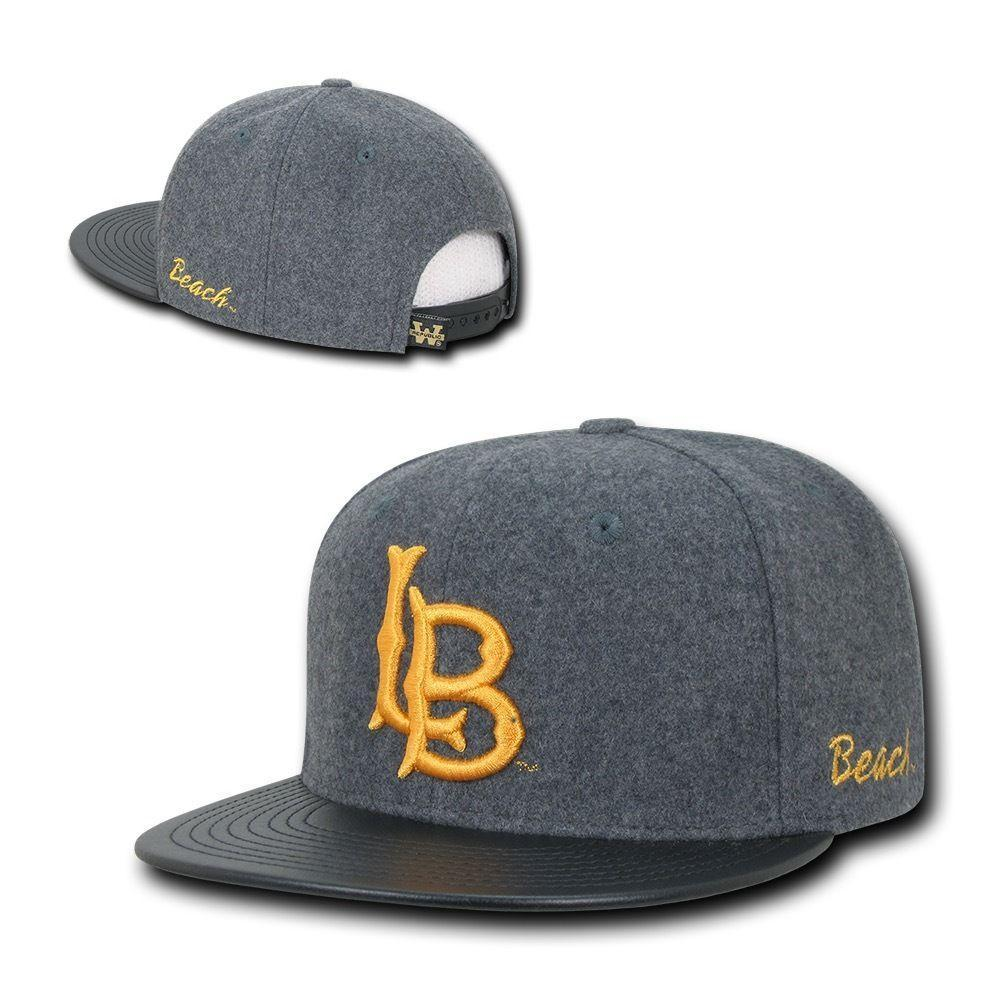 Sizes Run Small University of Cal State Long Beach CSULB The Beach NCAA Heather Gray Fitted Flat Bill Baseball Cap Hat