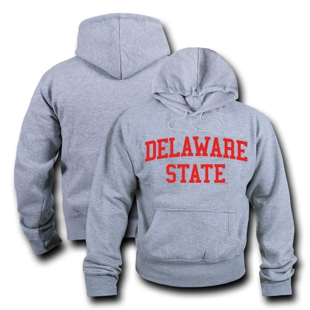 NCAA Delaware State University Hoodie Sweatshirt Game Day Fleece Heather Grey