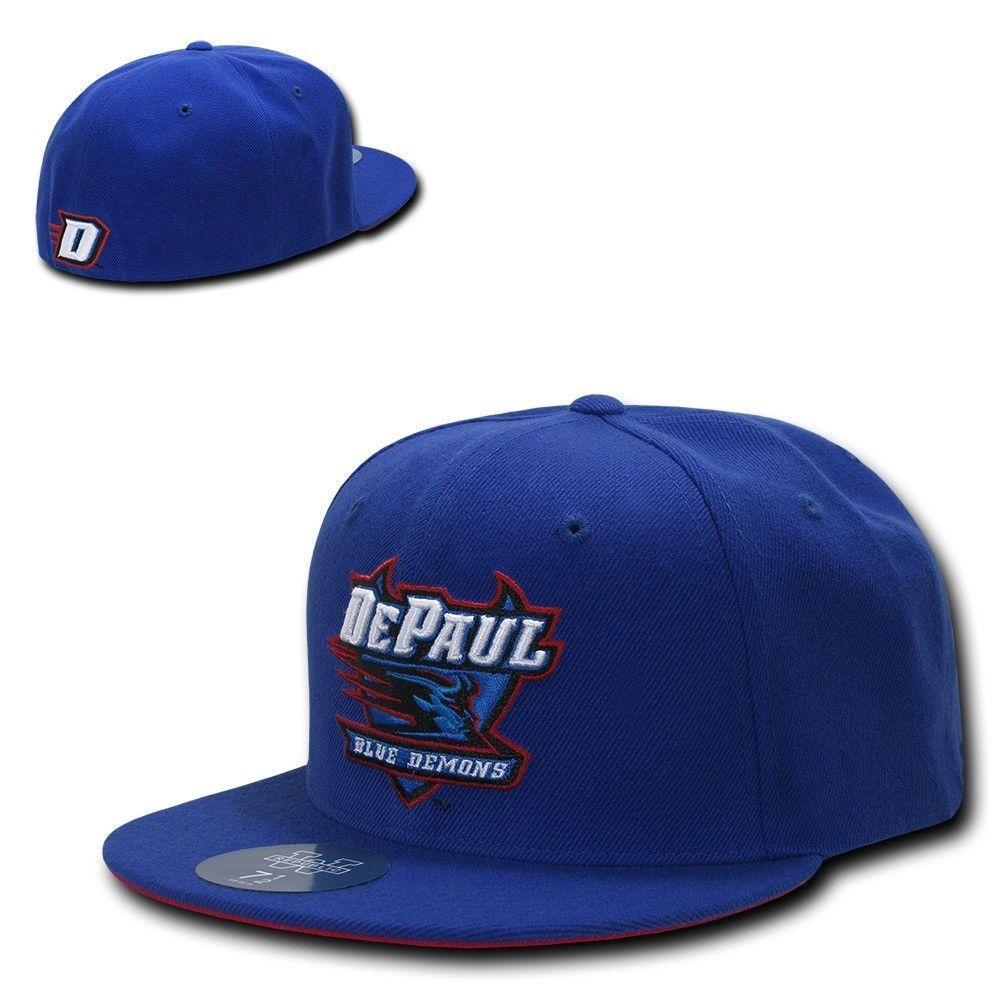 NCAA Depaul Blue Demons University College Fitted Caps Hats Royal