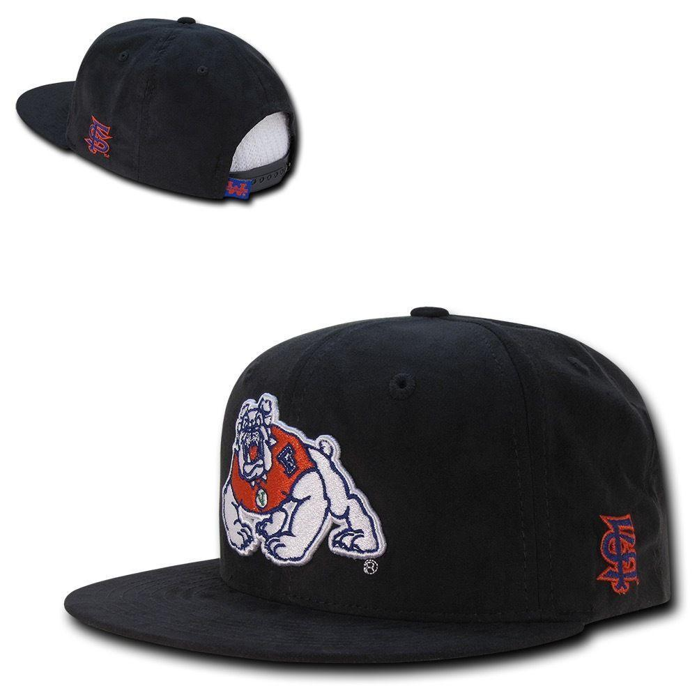 NCAA Fresno State University Bulldogs Faux Suede Snapback Caps Hats Black