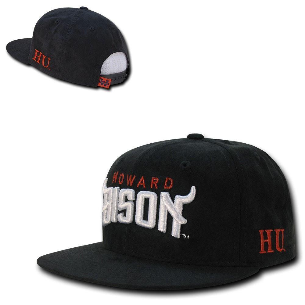 NCAA Howard University Bisons Faux Suede Snapback Baseball Caps Hats Black