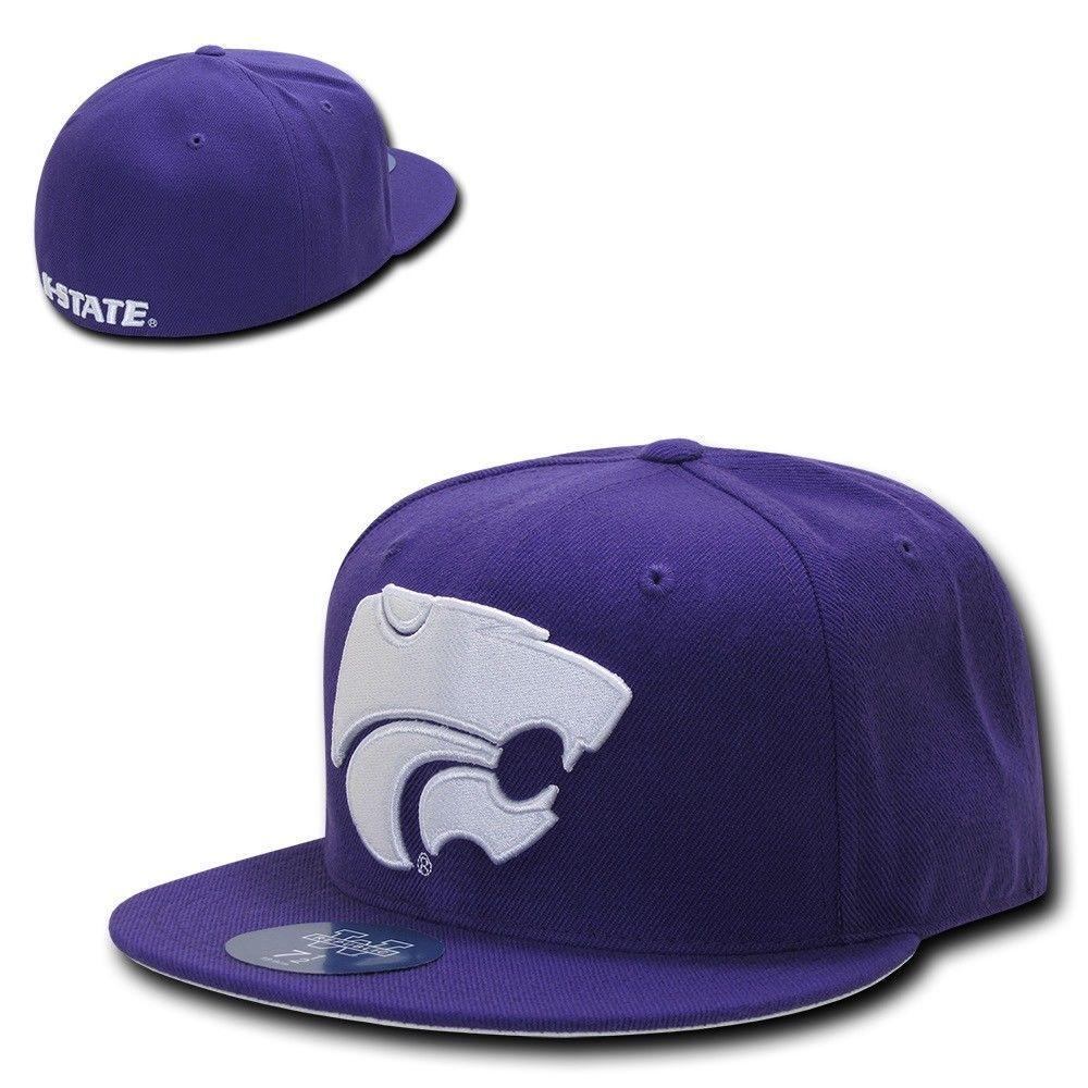 NCAA Kansas State Wildcats University Fitted Caps Hats Purple