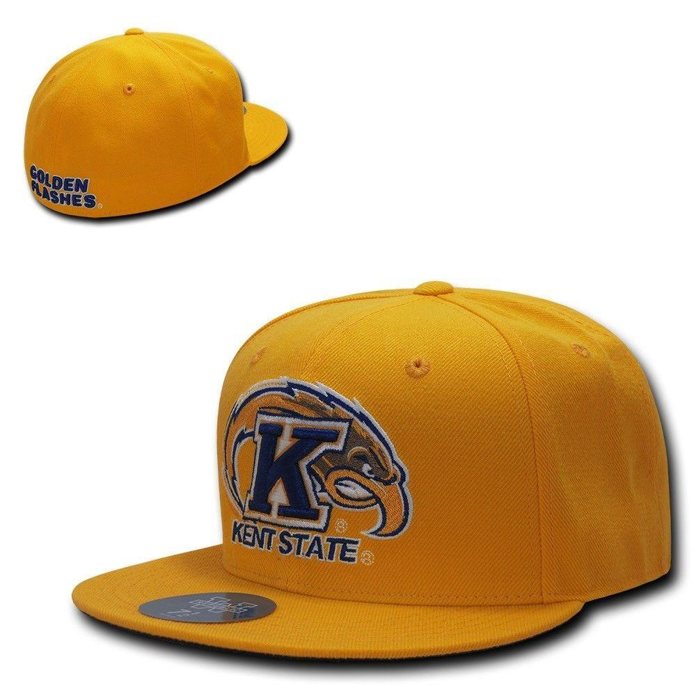 NCAA Kent State Golden Flashes University College Fitted Caps Hats Gold