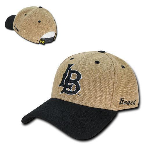 NCAA Long Beach Cal State University 6 Panel Low Structured Jute Caps Hats Blk