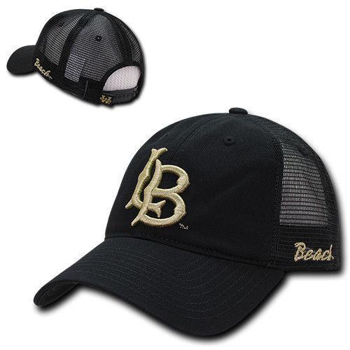 NCAA Long Beach Cal State University Relaxed Mesh Trucker Caps Hats Black