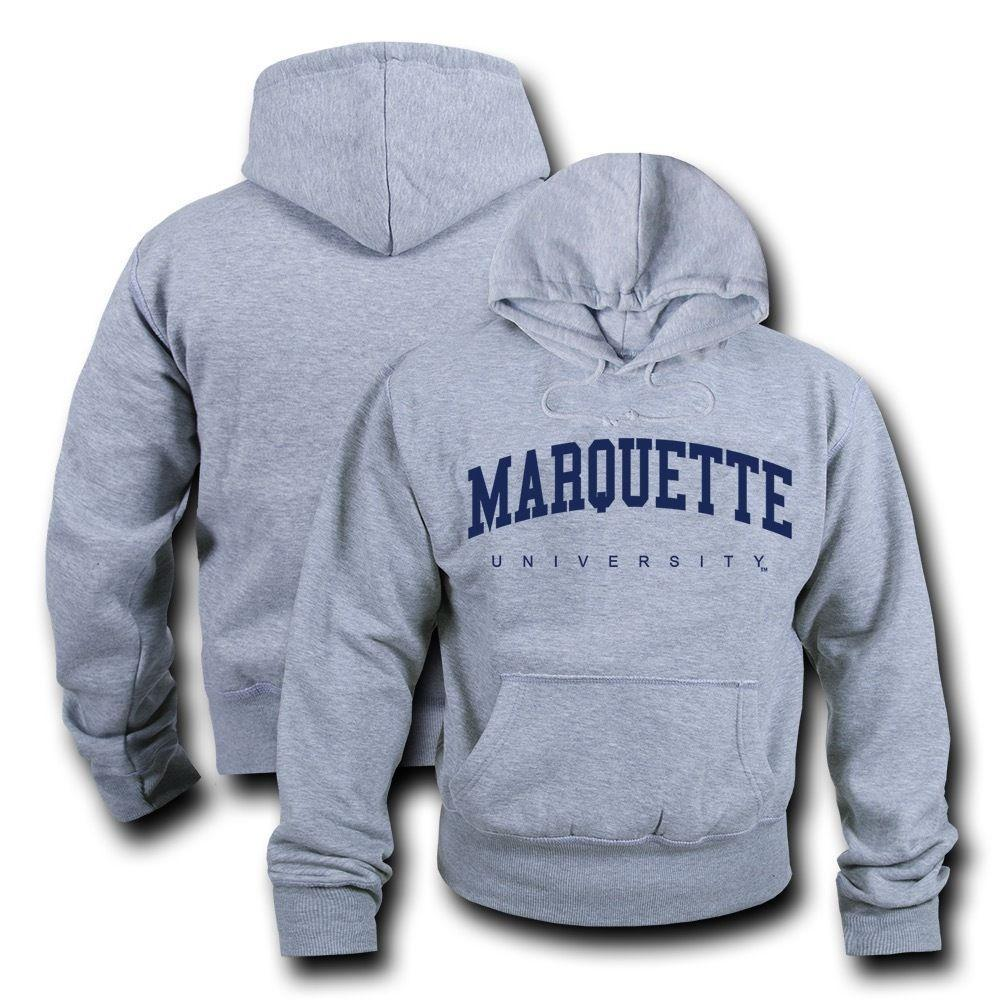 NCAA Marquette University Hoodie Sweatshirt Gameday Fleece Pullover Heather Grey