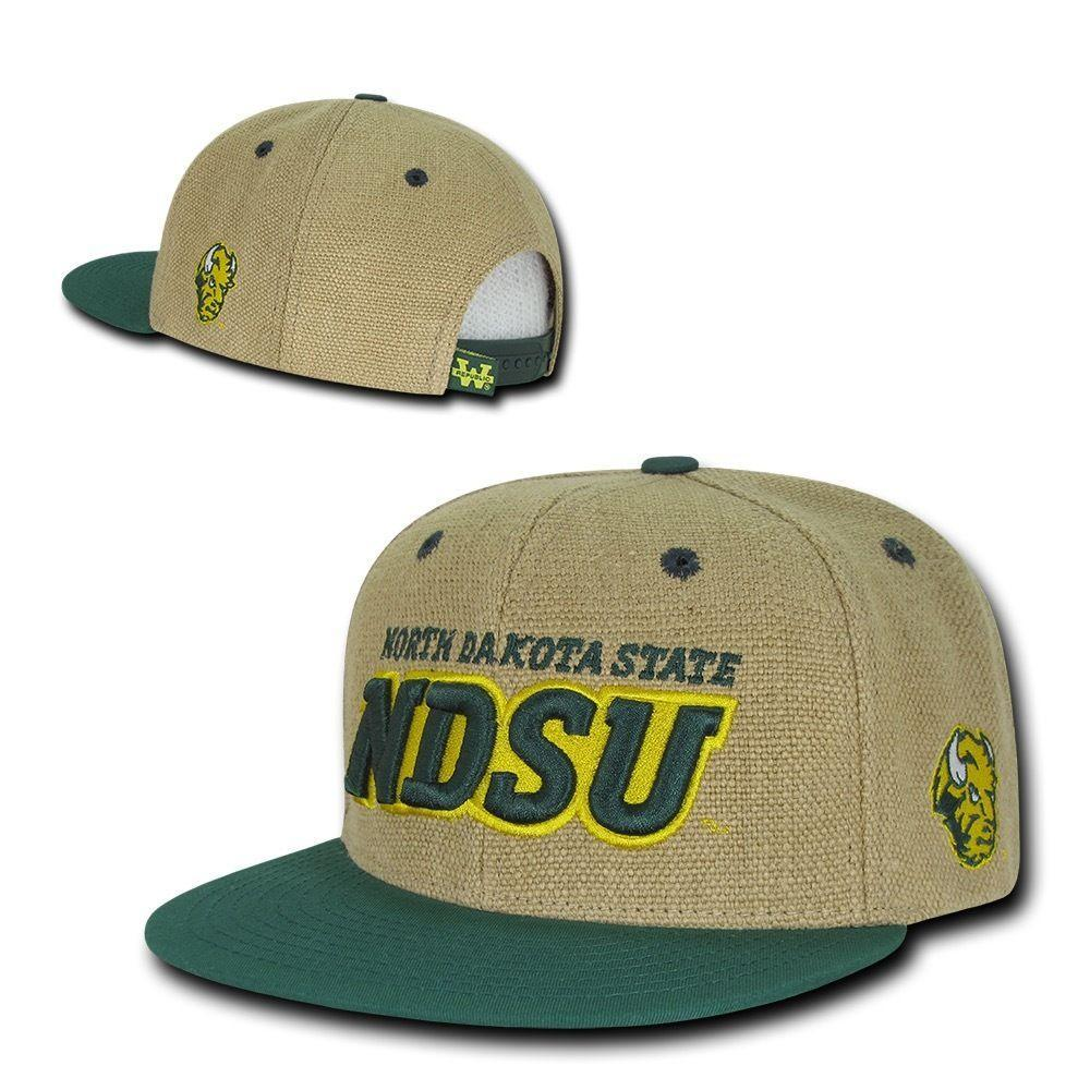 NCAA Ndsu North Dakota State Bison University Heavy Jute Snapback Caps Hats