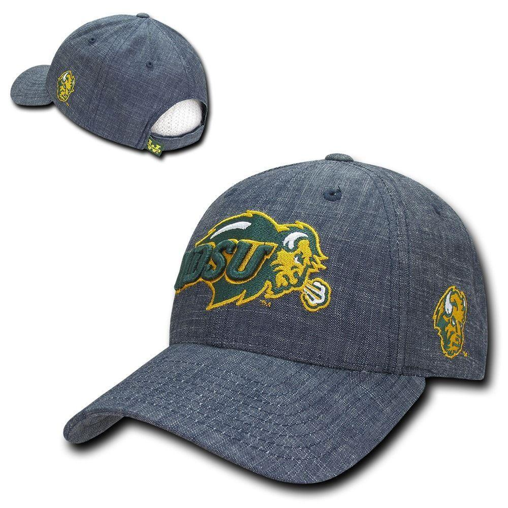 NCAA Ndsu North Dakota State Bison University Structured Denim Caps Hats Blu