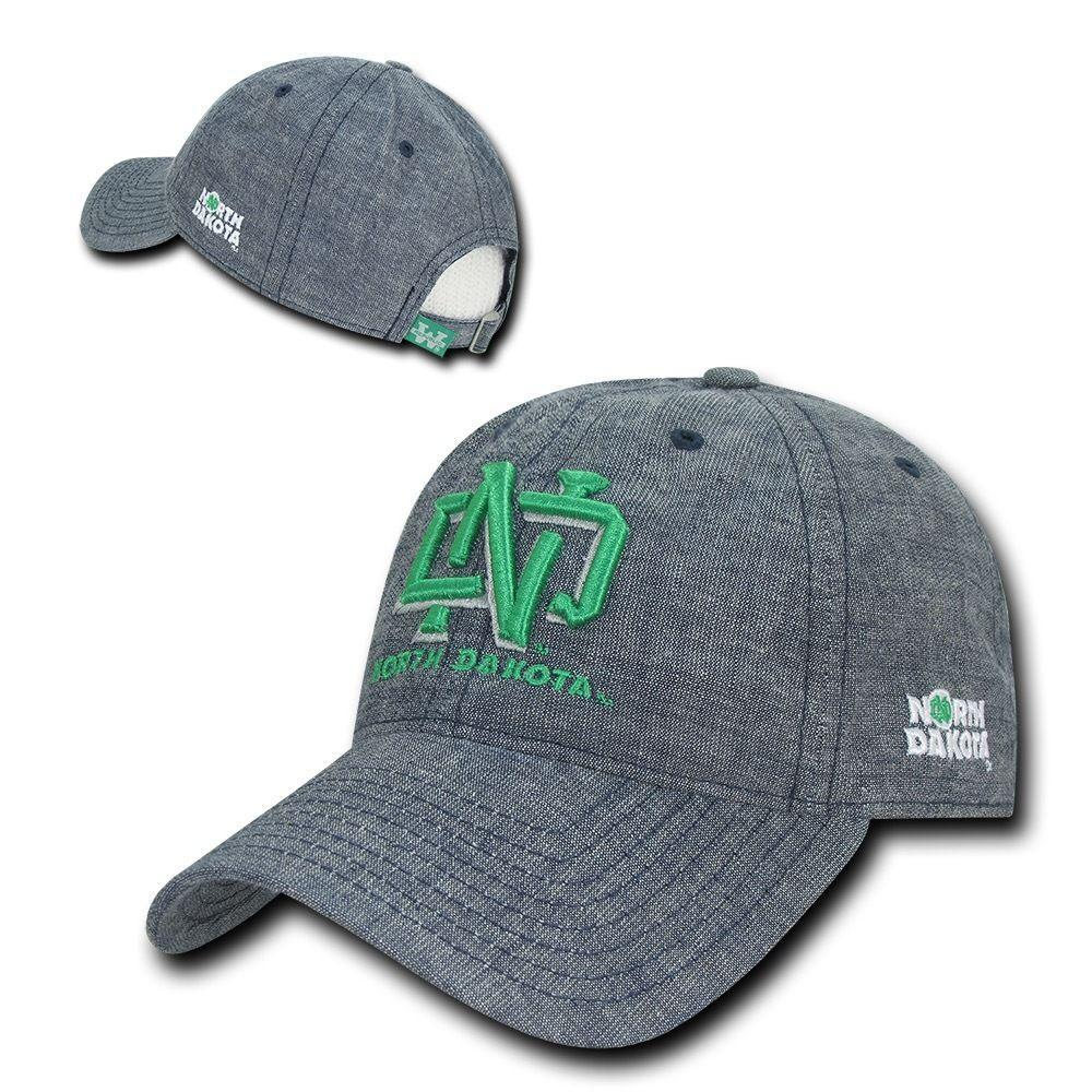 NCAA Ndu North Dakota University 6 Panel Relaxed Denim Baseball Caps Hats