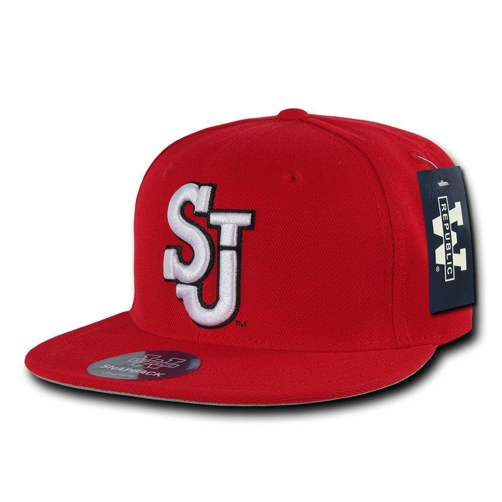 NCAA St John'S University College Red Storm Fitted Caps Hats Red