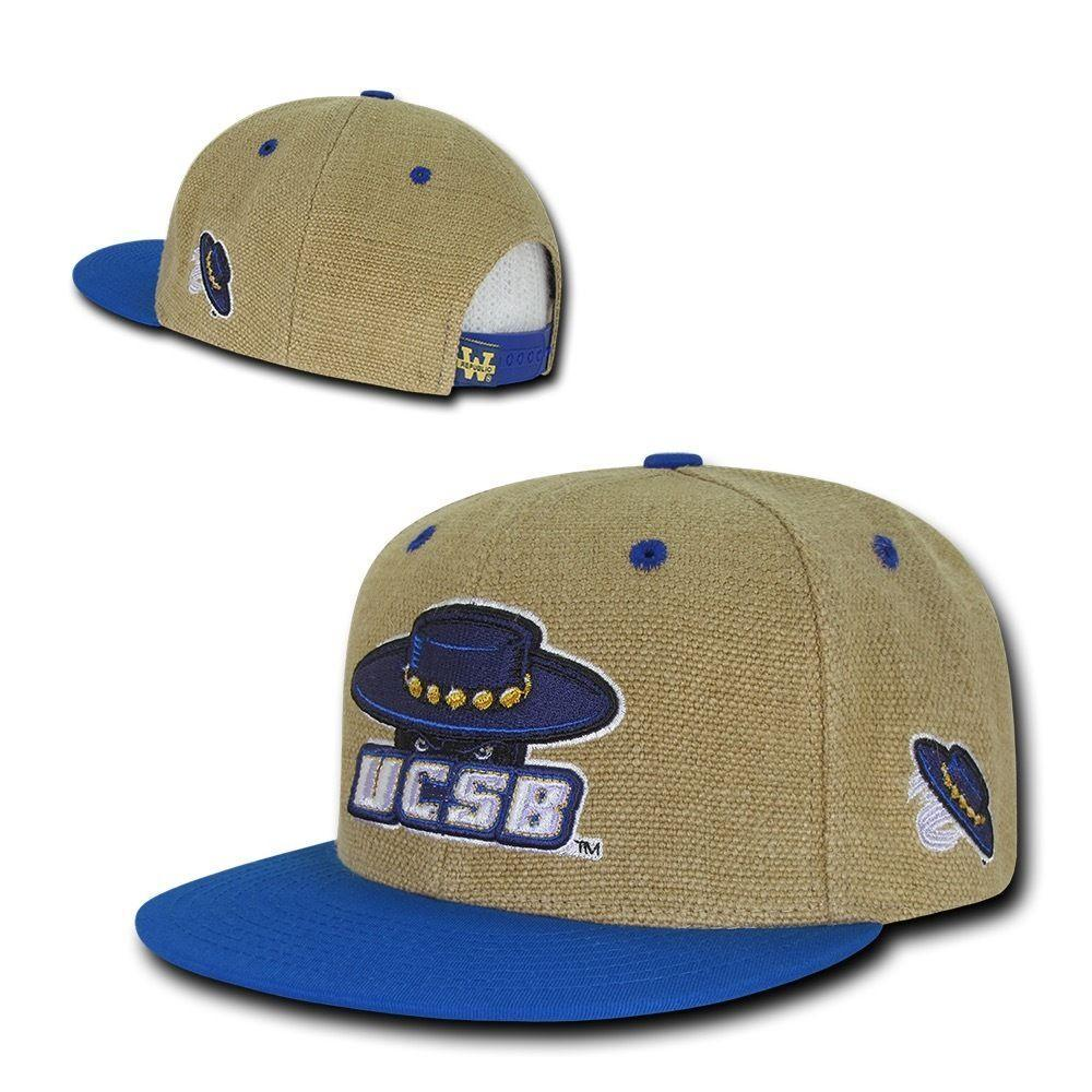NCAA UCSB Uc Santa Barbara Gauchos 6 Panel Heavy Jute Snapback Caps Hats Royal