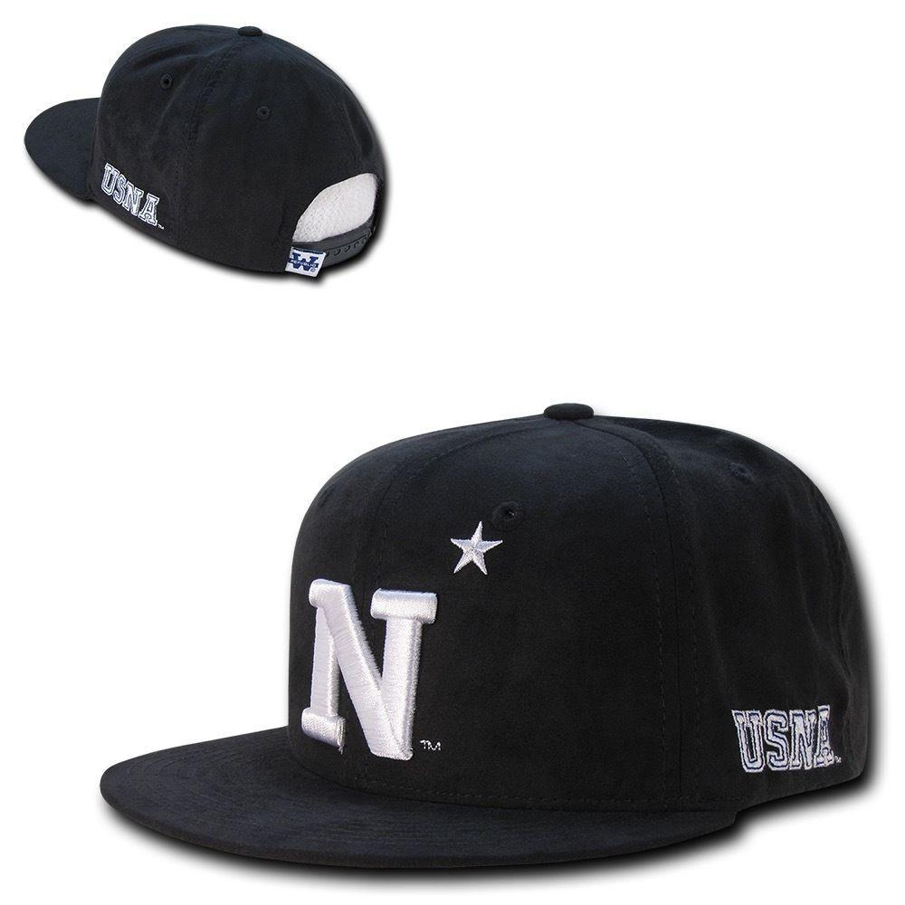 NCAA USna United States Naval Academy Faux Suede Snapback Caps Hats Black