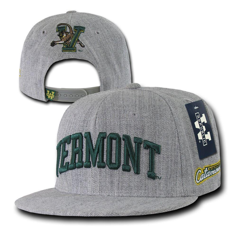 NCAA Vermont University 6 Panel Game Day Snapback Caps Hat Heather Grey
