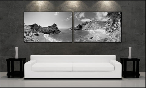 """McWay Cove Panoramic"" Big Sur 2-Piece Black & White Fine Art Gallery Wrapped Canvas Print"