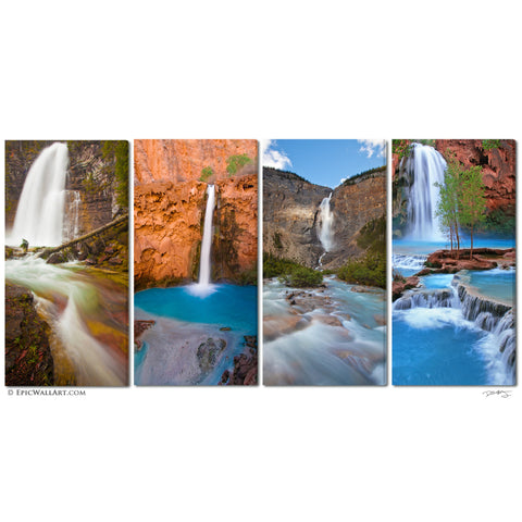 """Four Falls Flowing"" 4-Piece Epic Fine Art Canvas Wall Display"